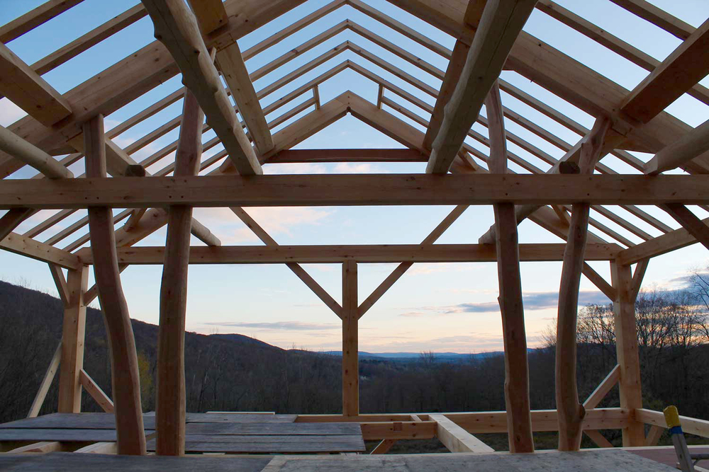 The making of a timber framed home, roofline detail - Berkshire Mountain Design Build, LLC