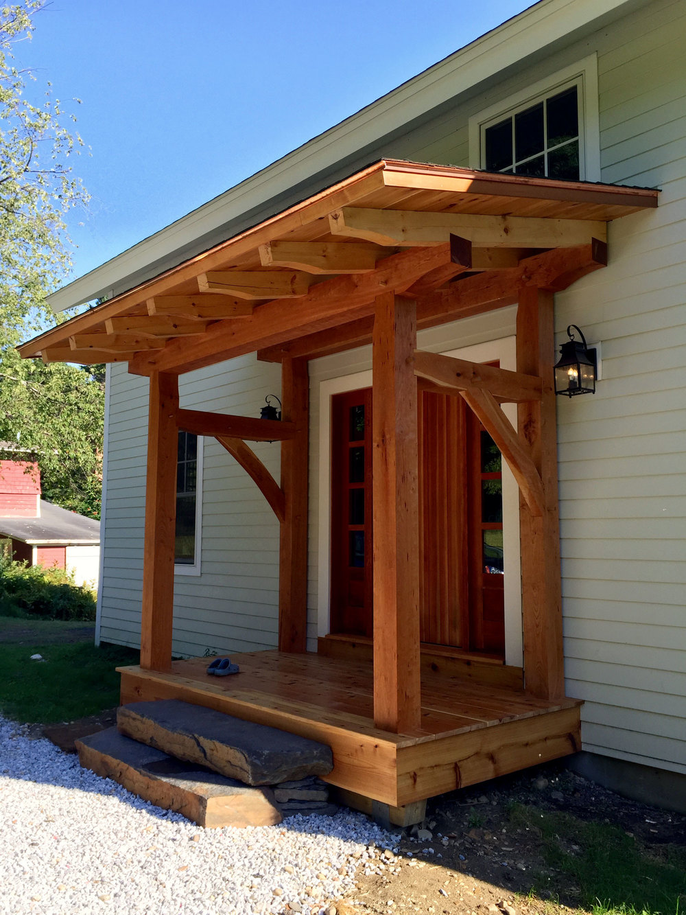 Timber framed entry porch - Berkshire Mountain Design Build, LLC
