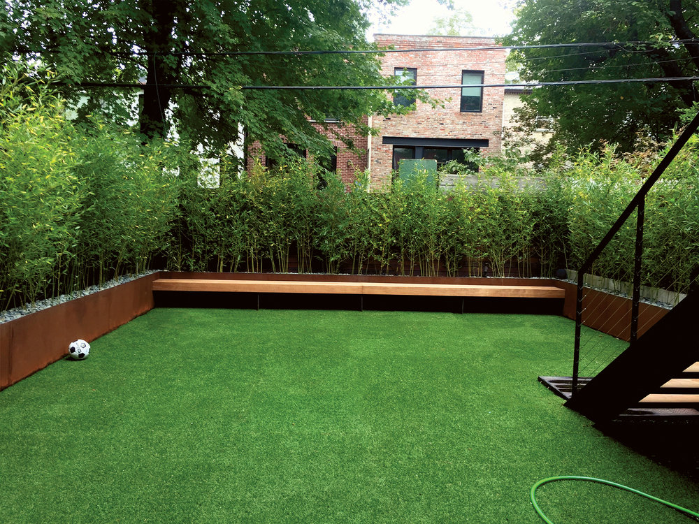 Brooklyn bamboo backyard corten steel ipe fence modern minimal nyc landscape desiger