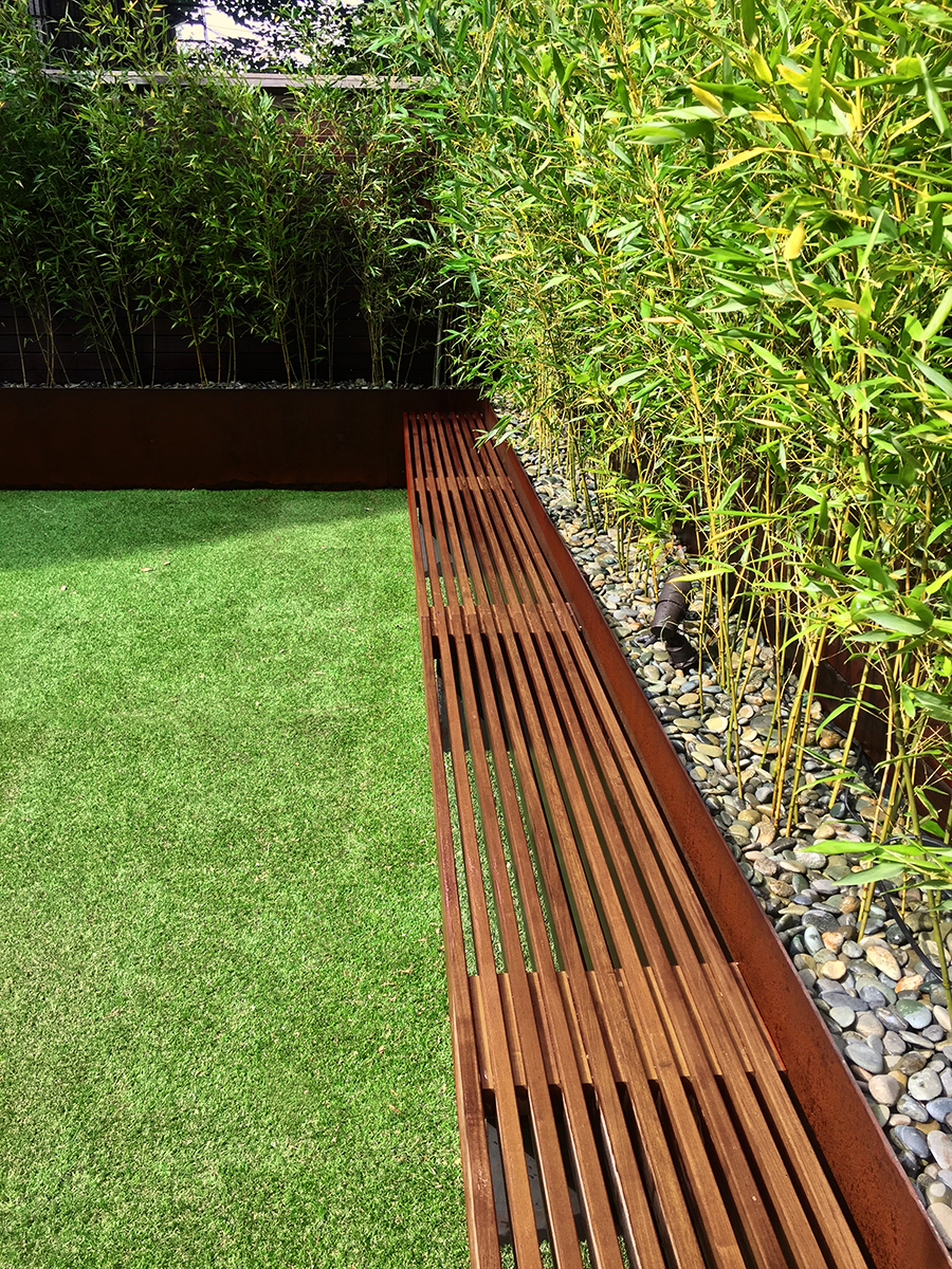 Brooklyn backyard bamboo zen urban garden corten steel ipe fence modern construction