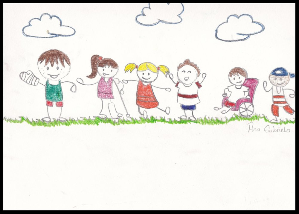 "Ana, age 15, is one of the ""rescued"" who is now ""rescuing.""  She drew this during one of our brainstorming sessions, in Nicaragua. Her love and devotion toward the kids with disabilities is precious."