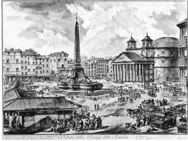 Fish market at Piazza Della Rotonda, Pantheon, Rome.