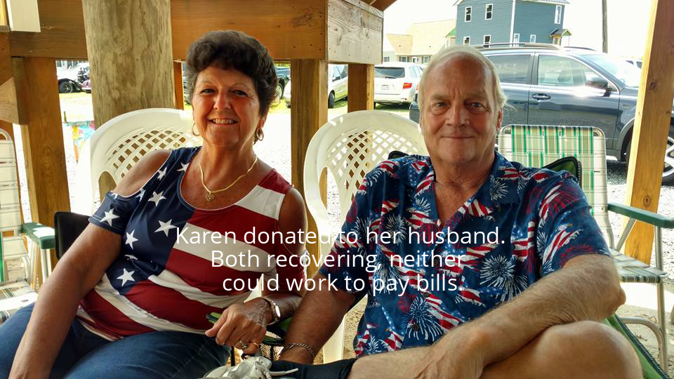 Karen donated to her husband