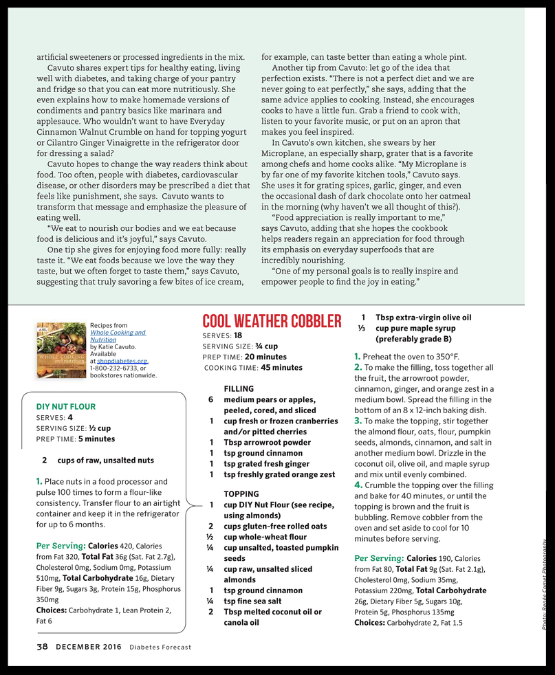 Diabetes Forecast Magazine   December 2016: The Healthy Eating Issue