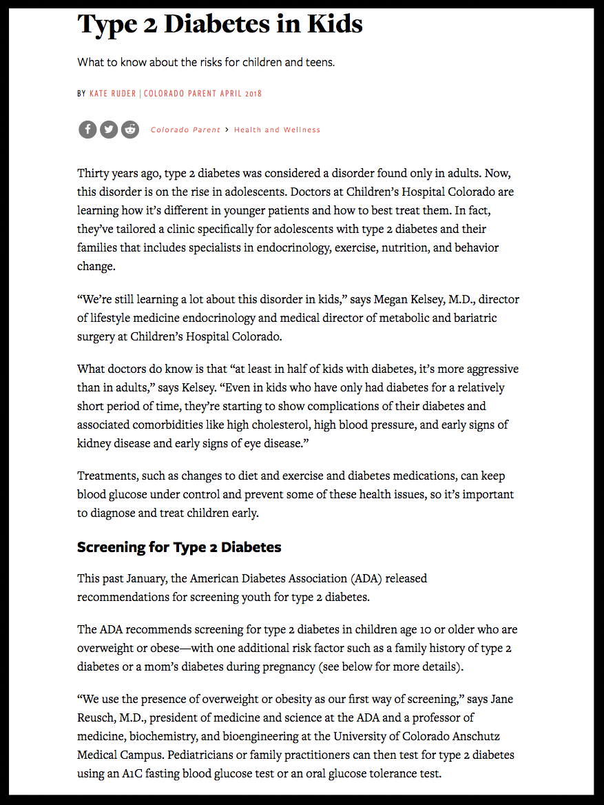 Type 2 Diabetes in Kids   Colorado Parent Magazine  April 2018 Issue  Page 1/2