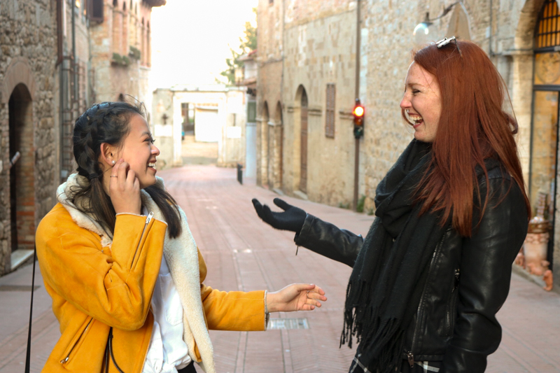 2.10.18.San Gimignano - Courtney and I candidly laughing