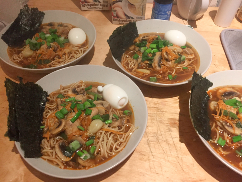 2.13.18. This is the homemade ramen I made for myself and three of my roommates. I was very proud!