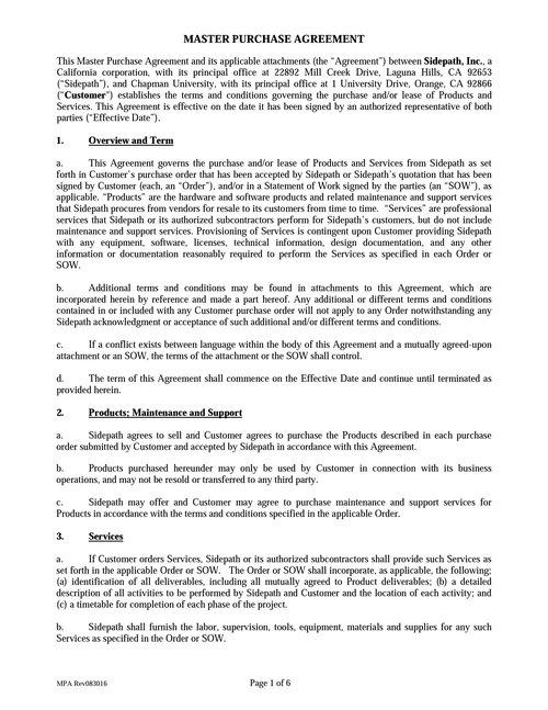 Sidepath mpa sidepath master purchase agreement platinumwayz