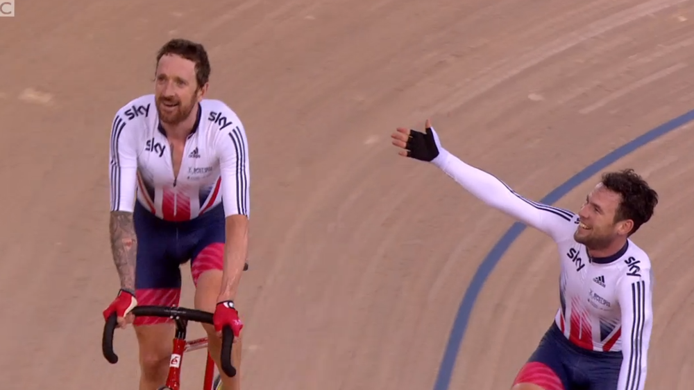 2016 Madison World Champions, Bradley Wiggins and Mark Cavendish.