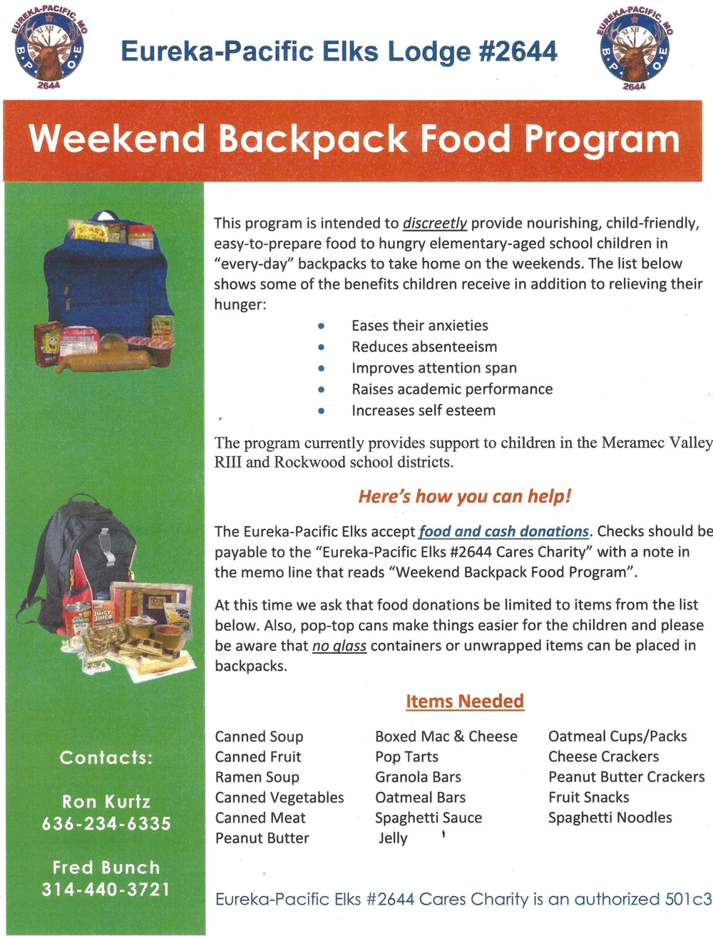 Weekend Backpack Food Program
