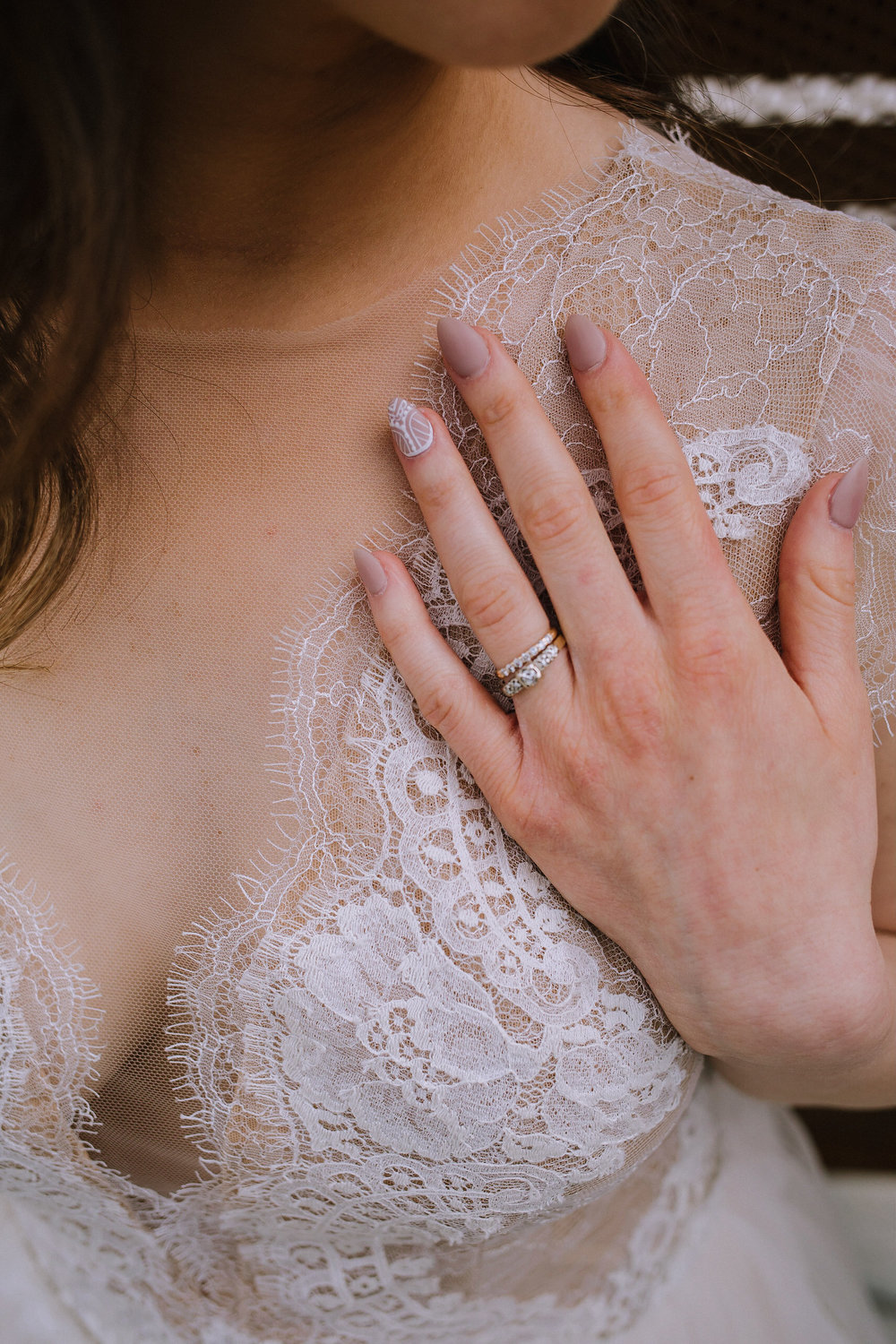Bohemian wedding at Chatham University, Eden Hall Farm designed by Exhale Events. Bride's look from Blanc de Blanc Bridal, Melissa Gown by Divine Atelier. Nail art by Manikure PGH.