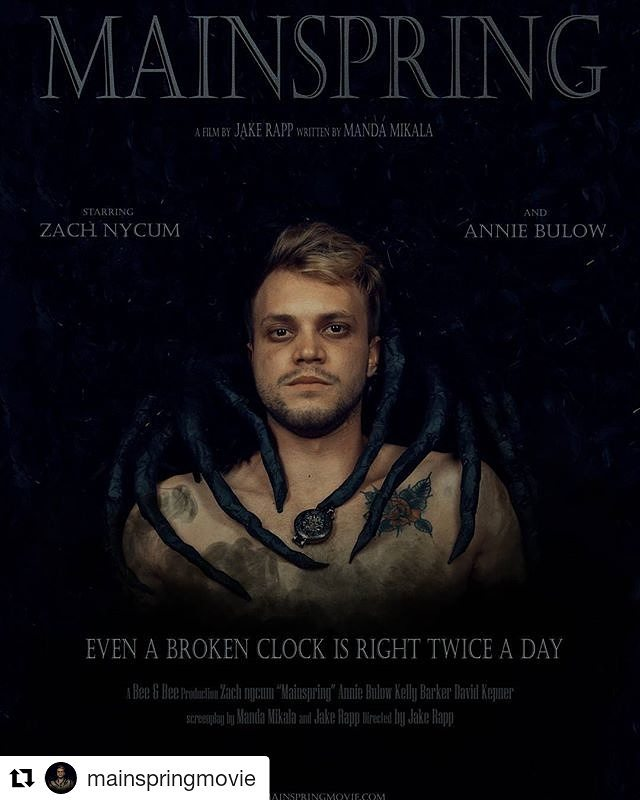 Working on the Feature this week. Day 6 of 11 & Poster Mockup is complete. #Repost @mainspringmovie (@get_repost) ・・・ #MainspringMovie poster starring Zach Nycum and Annie Bulow. Directed by Jake Rapp written by Manda Mikala.