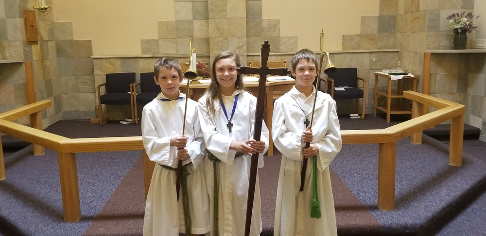 Our youth serve acolytes for our worship on Sunday mornings.