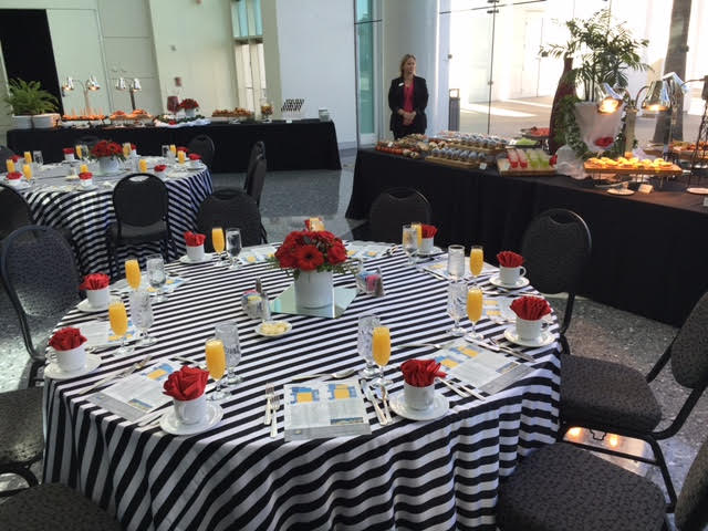 Set up for Saturday Brunch at Ontario Convention Center. FamTrip Greater Ontario CVB.