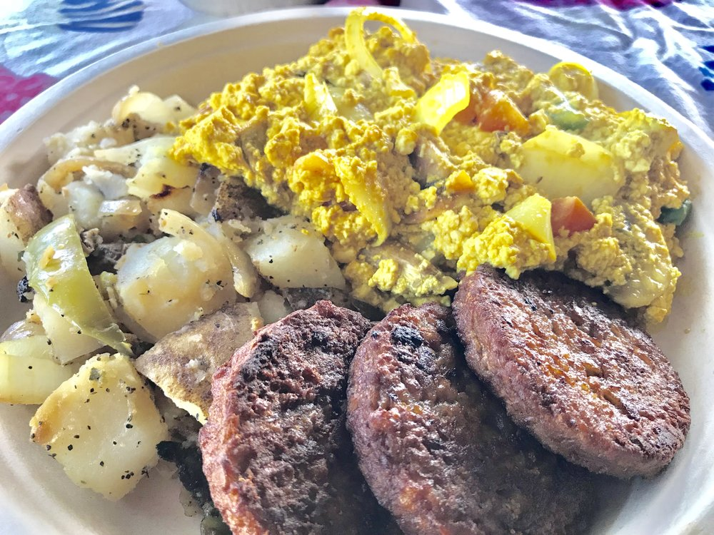 Scrambled  tofu, potatoes & veggie sausage. #Delish @SimplyWholesome - Los Angeles