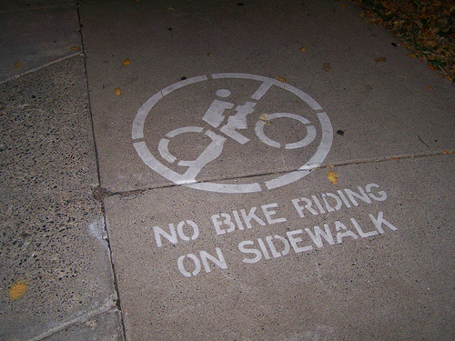 I just want to say that while I took this picture from Google, there were no such signs as this one on the sidewalk I was riding on. That is all.