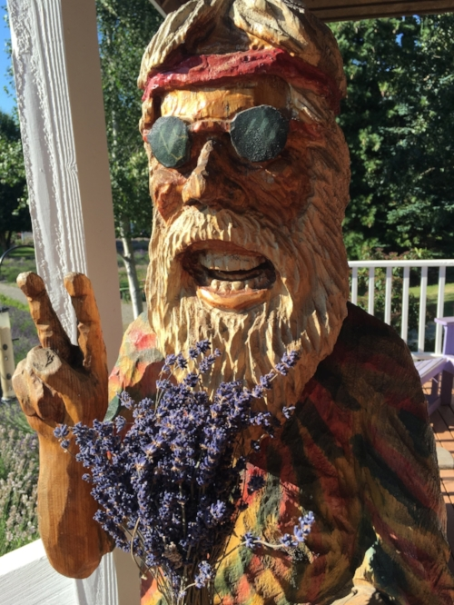 Purple Haze - Here is a fun fact about the owner of Purple Haze Lavender Farm. He worked for the government in the sixties as a horticulturist.  When he turned forty he quit his job to start the farm, and named it Purple Haze after the famous Jimmy Hendrix song. This sculpture is his self portrait.