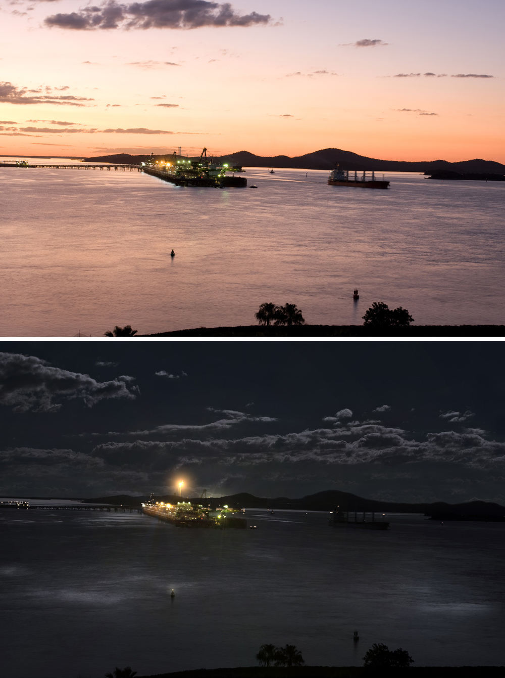 view of LNG plant from Gladstone lookout at sunset & night.jpg