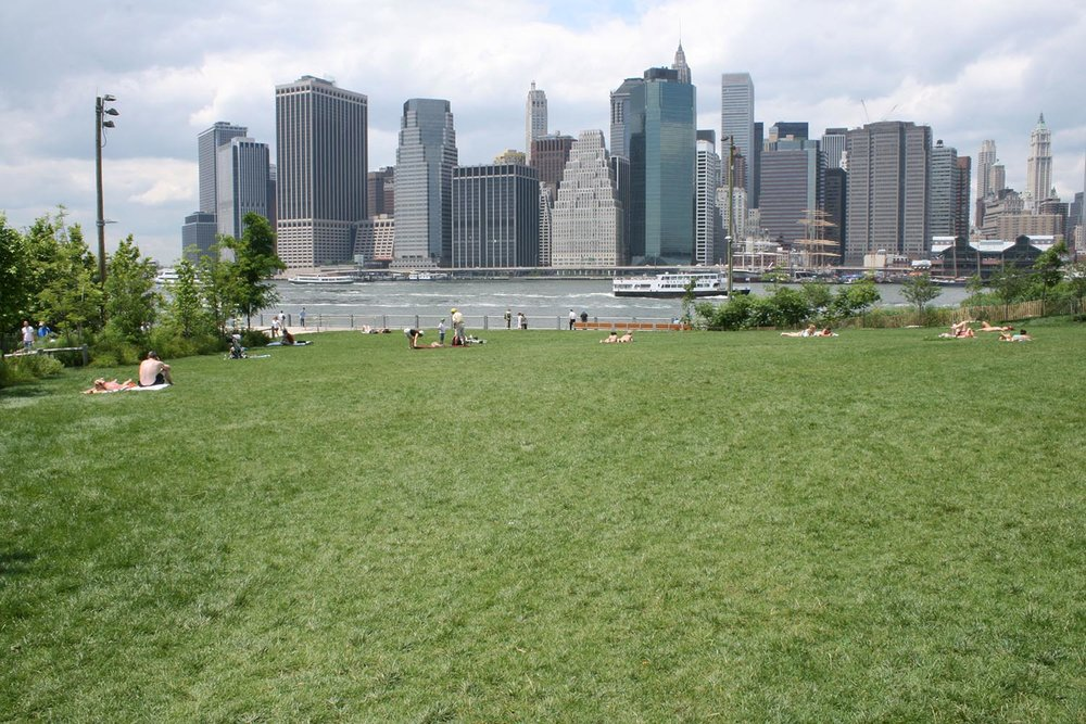 Sloping lawn on Pier 1
