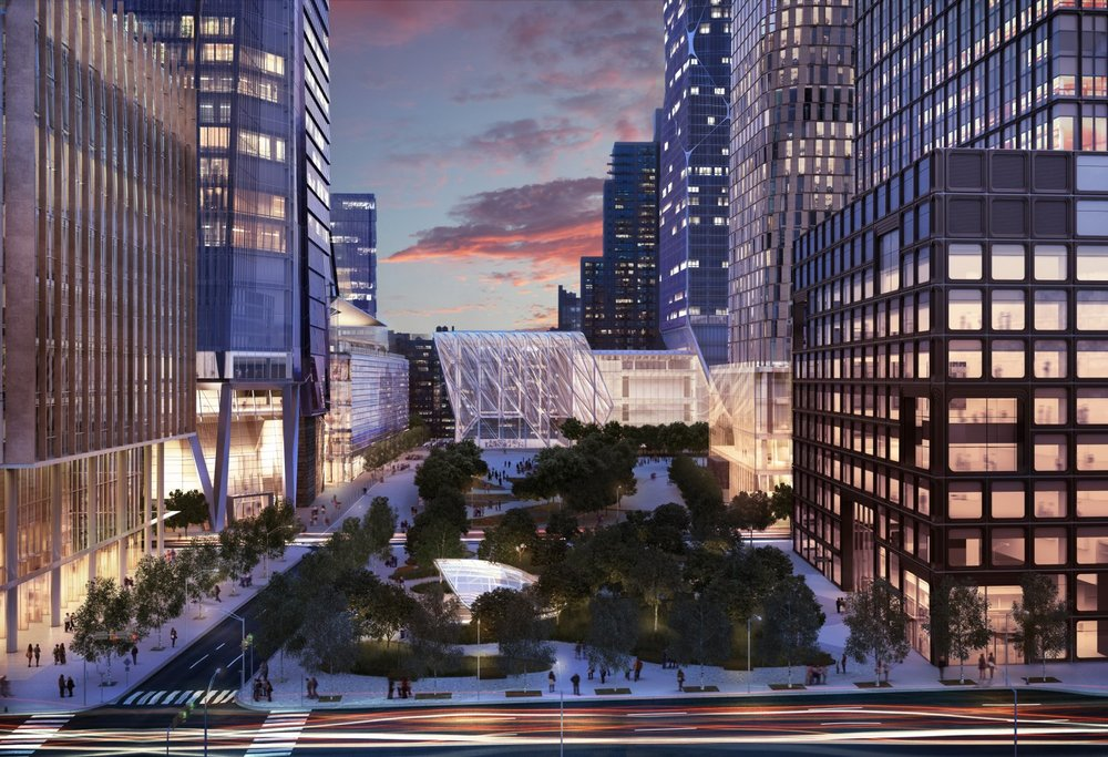 View south along central open space with Metro station entrance in foreground   Source: Hudson Yards web site