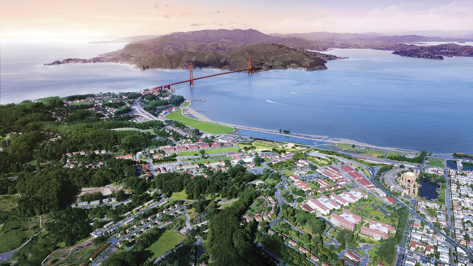 Aerial oblique rendering of the Presidio & Crissy Field