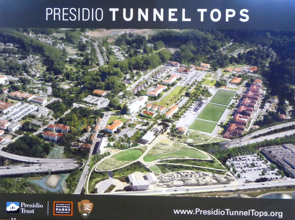 Aerial oblique rendering of Presidio & Tunnel Tops project