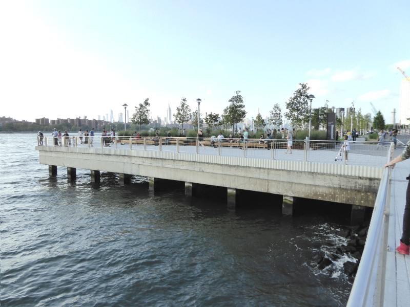 View of deck & piers supporting Domino Park
