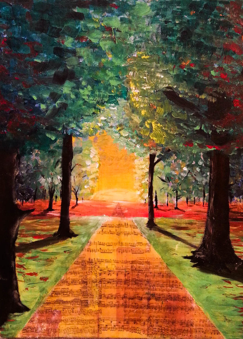 Sunset painting in acrylic with an acrylic transfer