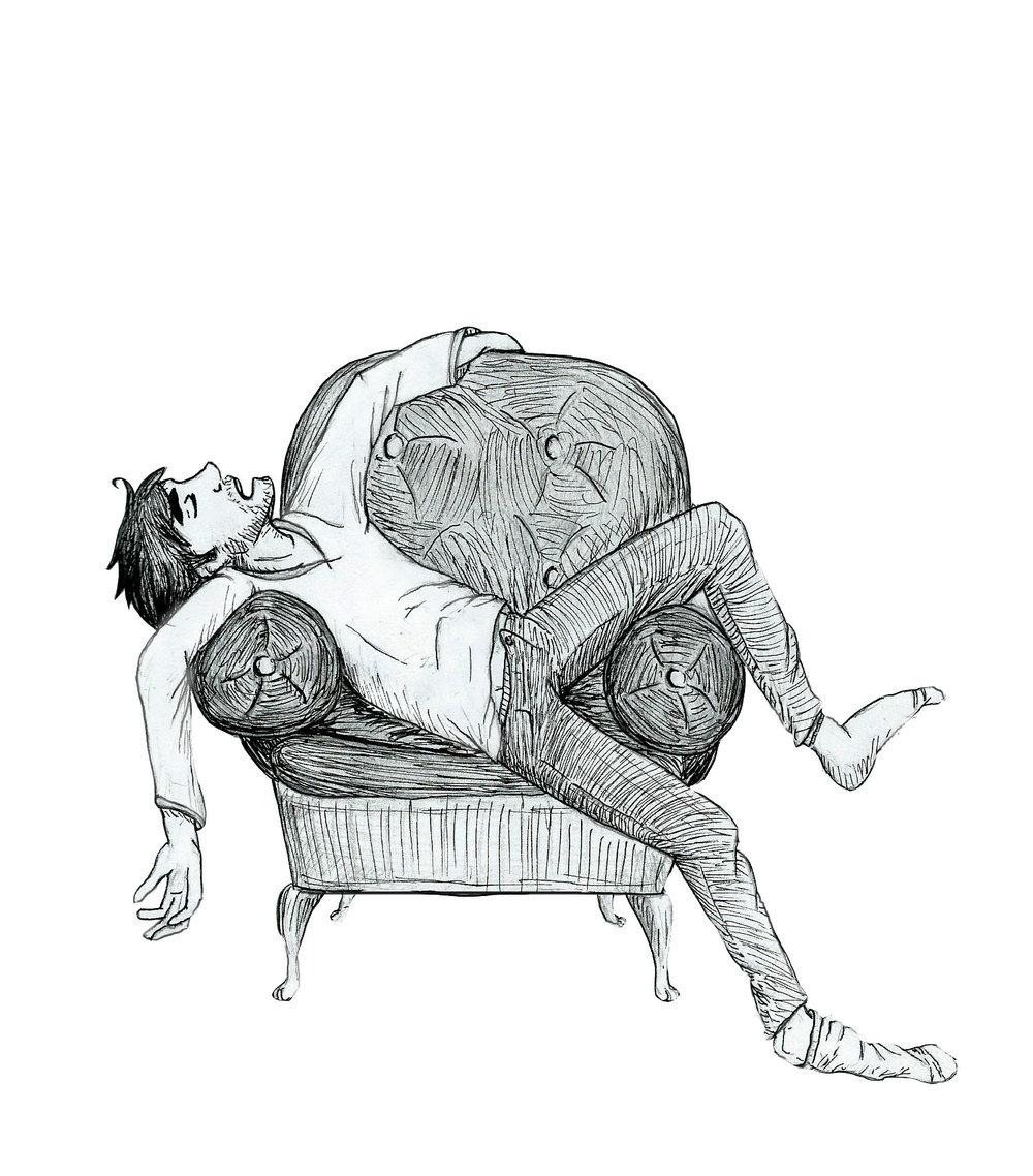 A tired man ink study