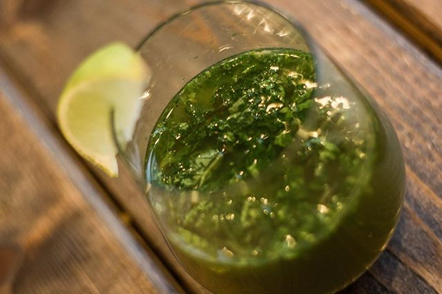 Enjoy a fresh bite of ginger and a little spice with the Matcha Kombucha Fizz | Vodka, Matcha Powder, Ginger Kombucha, Mint and Lime.  The Karma Nighttime Menu is available every Thursday - Saturday | 6-10pm  #vegan #vegetarian #YXE #glutenfree #nightlife #dtnyxe #karma #plantbased