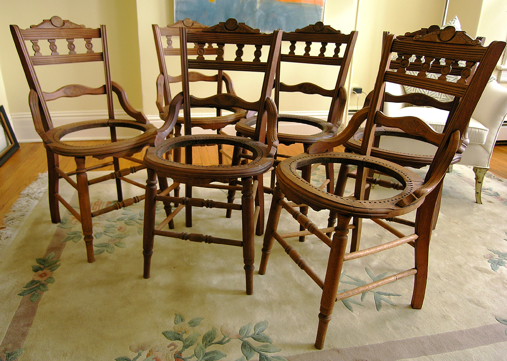 Antique Victorian Chairs, 6 Matching
