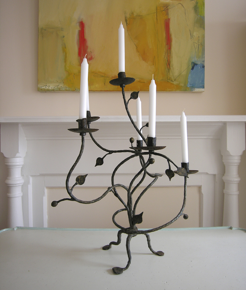 Antique Candelabra, Hand Forged Wrought Iron