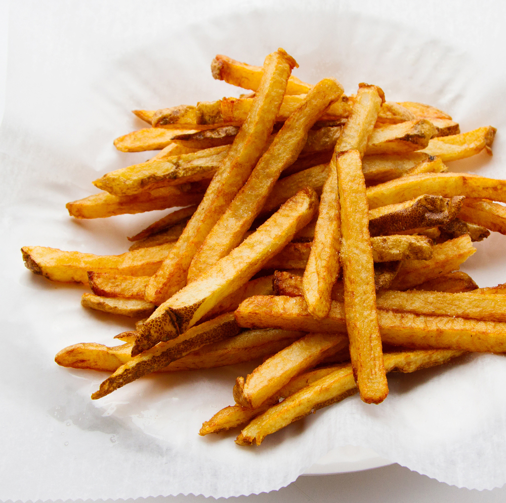 The French fries are hand cut to order.