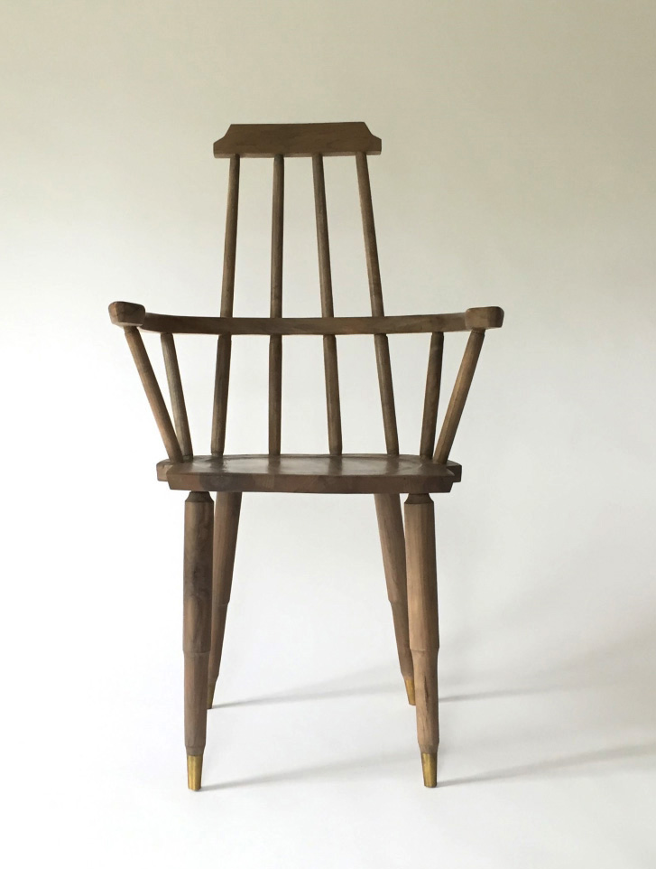 Jupiter Windsor Chair,  Dzierlenga Furniture, Salt Point, NY Reclaimed and bleached, spalted maple, brass, 40 ½Hx 15W x 16 ½ D. Lent by Casey Dzierlenga