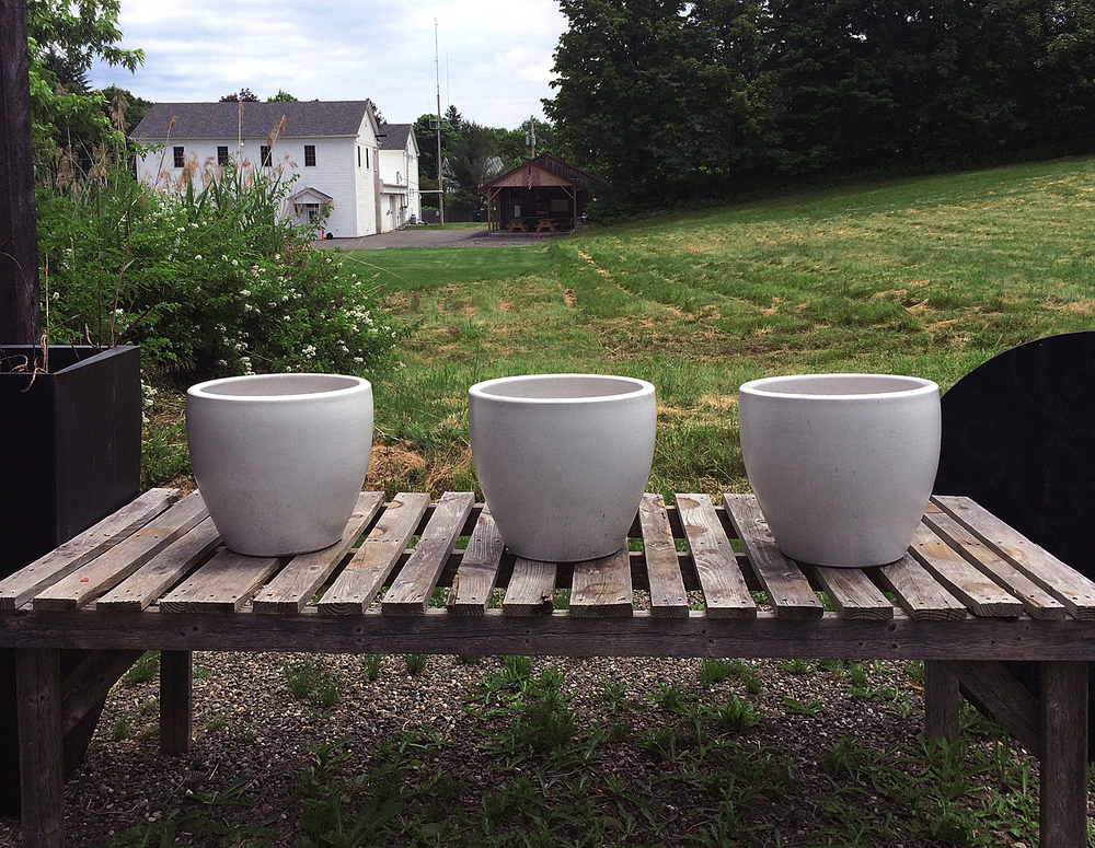 White Ceramic Planters Overlooking Farmland Setting