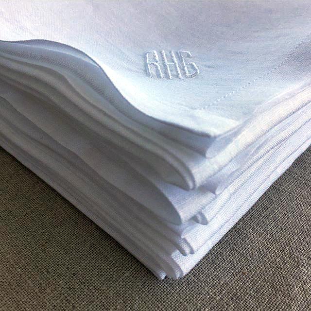 Monogrammed White Linen Handkerchiefs
