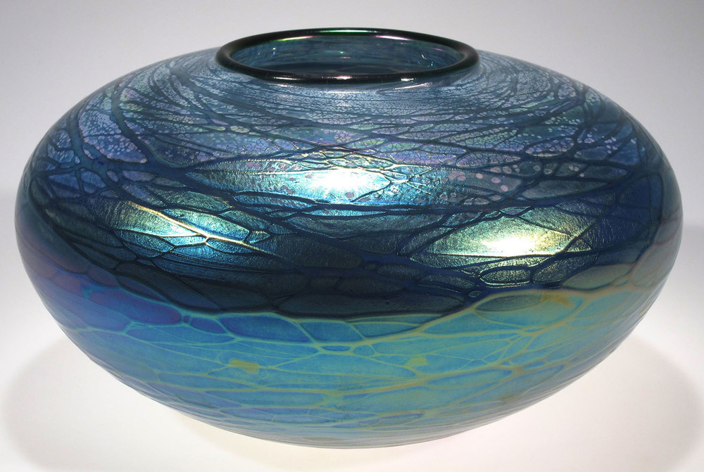 Tom Stoenner,  Galaxy  luster vase, blown glass, 9″ diameter