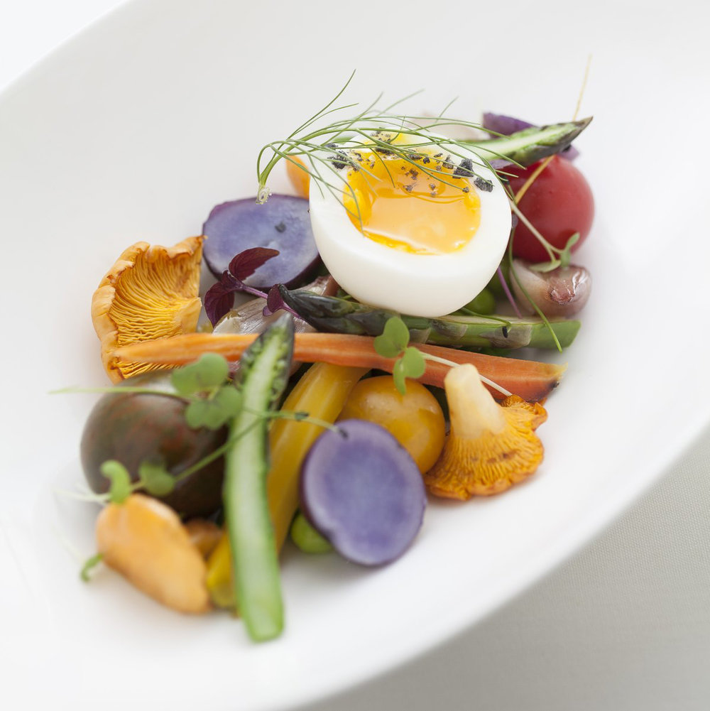 Spring vegetable salad, poached egg, fingerling potatoes and morels