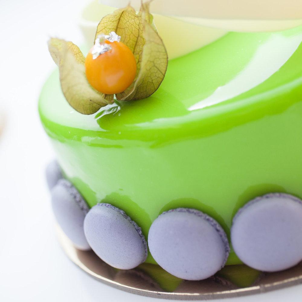 Berry Entremet with flourless chocolate cake, pistachio brûlée and fresh raspberries