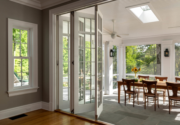 Screened Porch with Folding Glass Doors