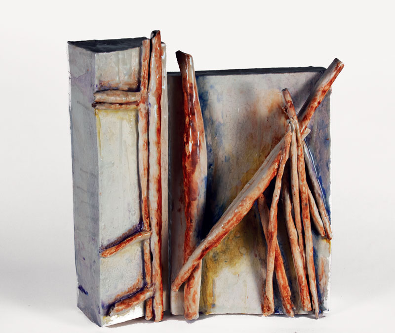 30cm W; 36cm H; 10cm D  Hand Built, Glazed Stoneware, Cone 6, Oxidation