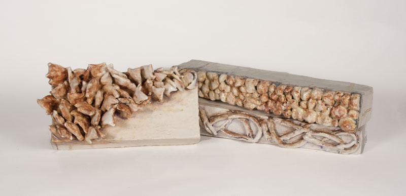 59cm W; 16cm H; 11 cm D  Hand Built, Glazed Stoneware, Cone 6 Oxidation