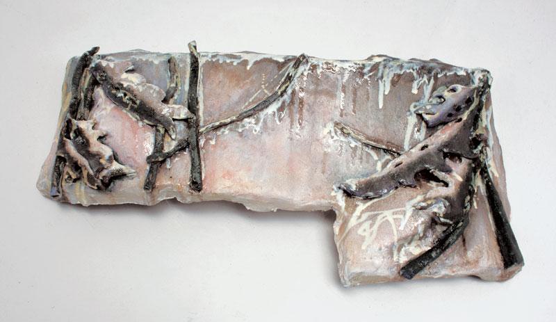 85cm W; 13cm H; 48cm D  Hand Built, Glazed Stoneware, Cone 6 Oxidation