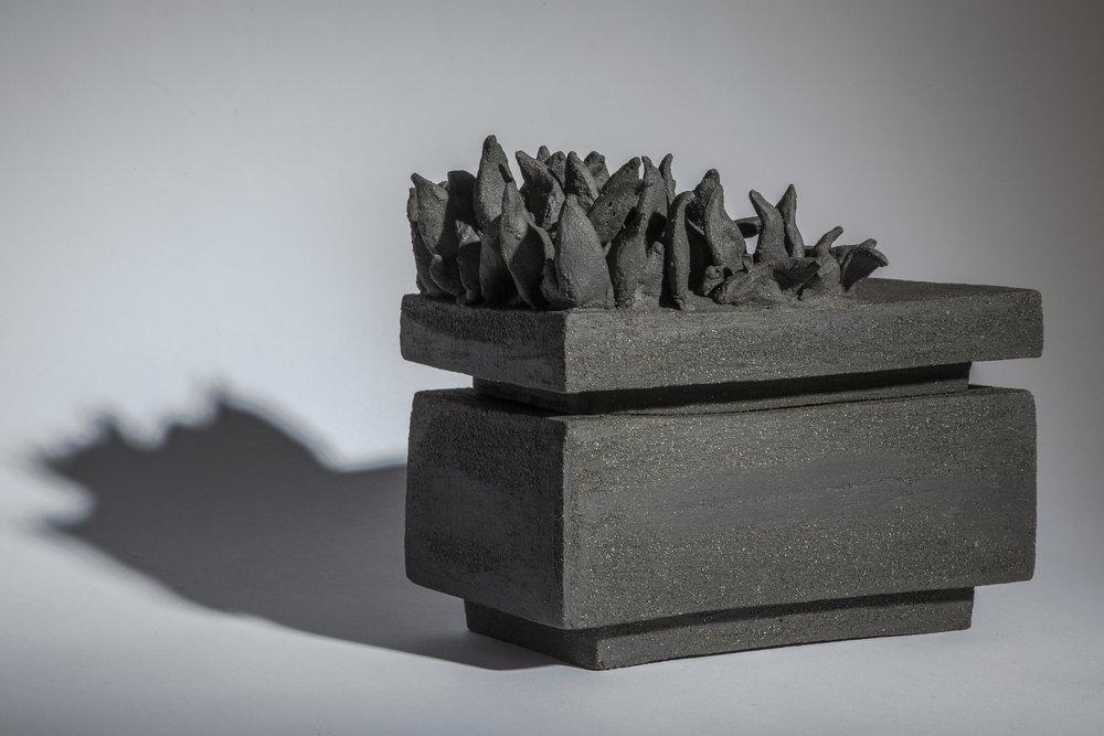 Box  22cm W; 20cm H; 12cm D  Hand Built, Stoneware, Cone 6 Oxidation