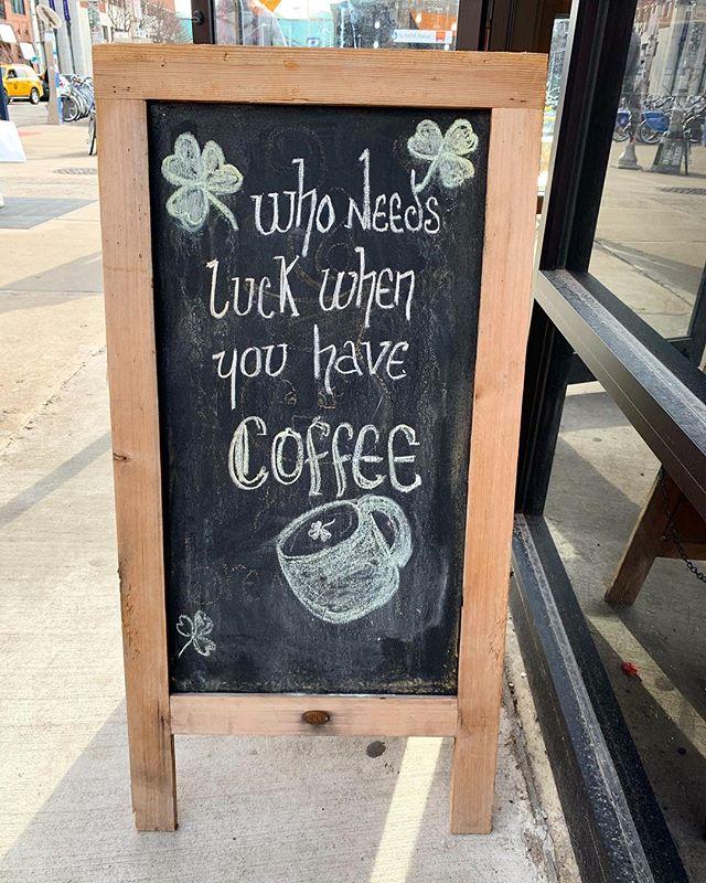 Quick reminder for anyone still recovering from weekend festivities: ☕️ ☘️
