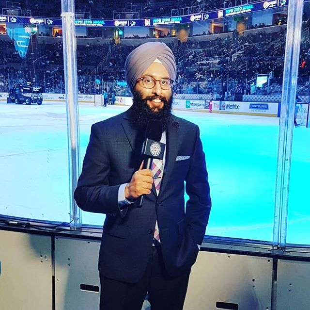 At the SAP Center in San Jose, California - Jan 12, 2019 - for @brent_burns_88 1000th #NHL game ceremony  @senators at @sanjosesharks  on @hockeynight @nhl  #Ottawa #Sens #Senators #HockeyNight #SanJose #Sharks #SJSharks #Broadcaster #suitedandbooted #Turban #IceSingh