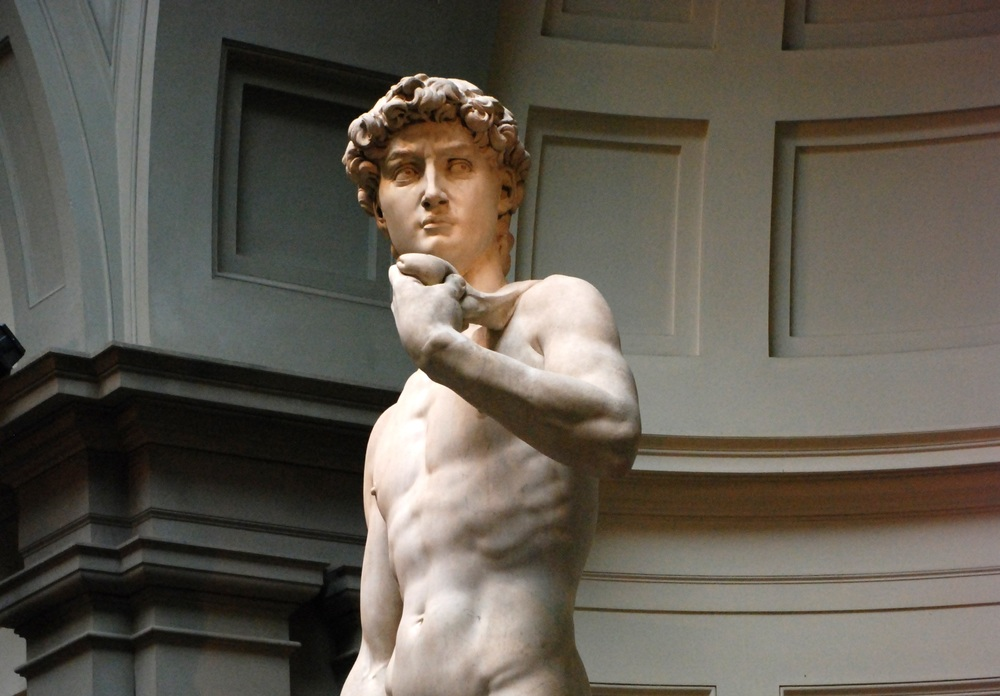 David, by Michelangelo, solid marble
