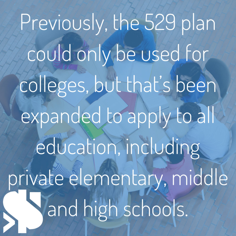 Previously, the 529 plan could only be used for colleges, but that's been expanded to apply to all education, including private elementary, middle and high schools..png