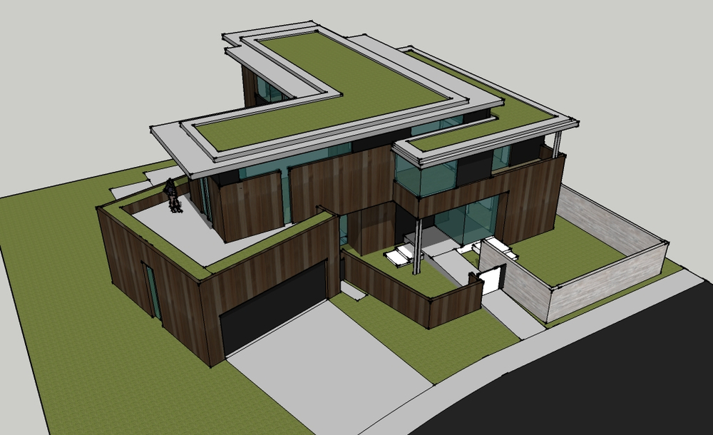 Drawing of our Phinney project with green roof.  Vinyl roofing is installed under.