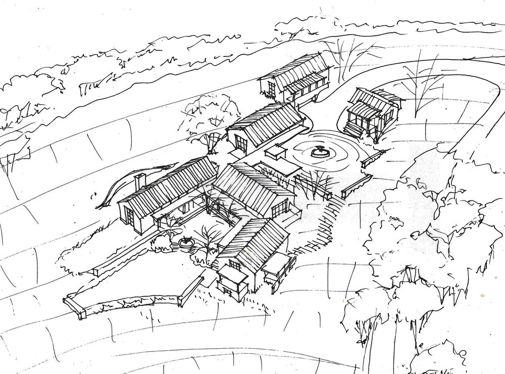 One of our early concept sketches for the overall layout.